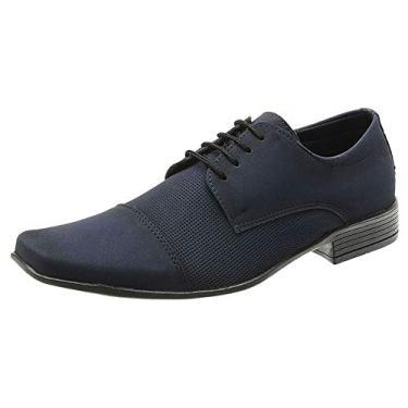Sapato Social Masculino Couro Ecológico SanLorenzo Nobuck Azul 41