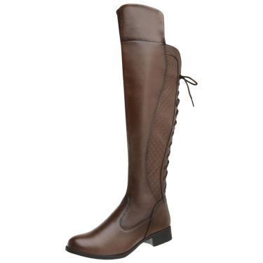 Bota Cano Alto Danyum Shoes Over The Knee Marrom  feminino