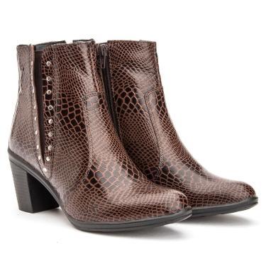Bota Coturno Feminino Pyton Croco Ankle Boot Em Couro Mod 2802