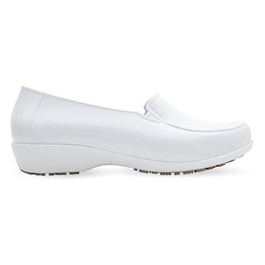 Imagem de Sticky Sapatos femininos impermeáveis para uniforme – Sapatos de trabalho confortáveis antiderrapantes – Mocassins termoplásticos clássicos, Branco, 7