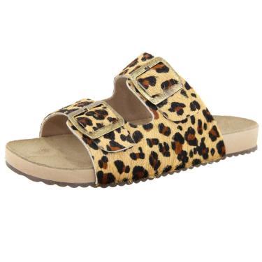 Sandália Birken Roma Shoes em Couro Confort Onça  feminino