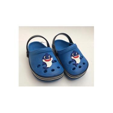 Sandália Crocs Babuche Menino Baby Shark Azul Infantil