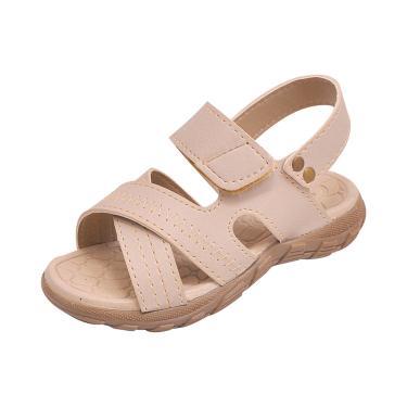 Sandália Infantil Raniel Calçados Papete Velcro Marfim  menino