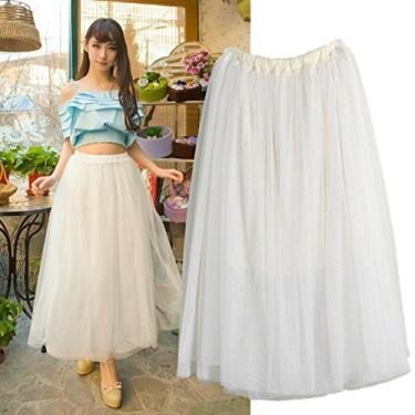 OULII Vestido de princesa feminino anágua tule vestido longo em camadas (branco)