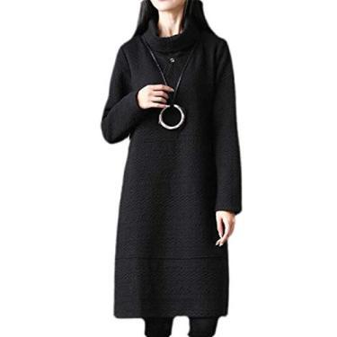 Vestido feminino liso de manga comprida e comprimento médio da KLJR, Cinza, L