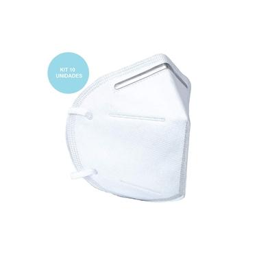 Kit 10 Máscara de Proteção Descartável KN95 PFF2 Branca