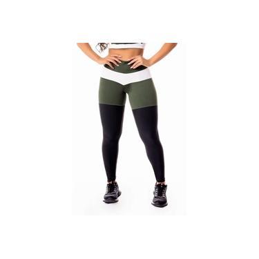 Imagem de Calça Legging Feminina Fitness Academia Preta com Verde Militar e Branco Levanta Bumbum Cintura Alta