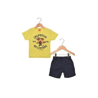 Conjunto Kyly Camiseta e Bermuda Amarelo e Azul Marinho V16 108367
