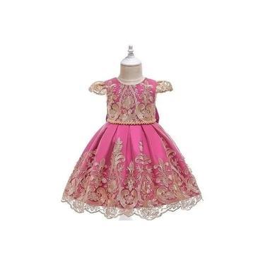 Vestido Infantil Festa Luxo Pink e Dourado