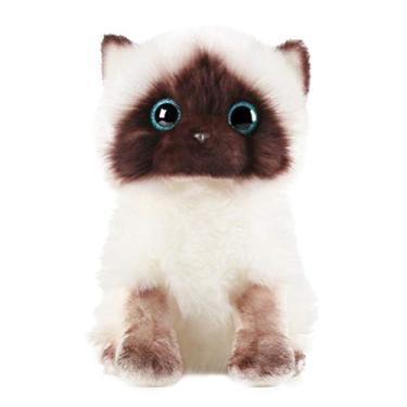 Imagem de VORCOOL Bichinho de pelúcia realista de gato fofo de pelúcia companheira interativa animais de estimação brinquedo gatinho pelúcia pelúcia pelúcia pelúcia brinquedo infantil entretenimento para meninas branco