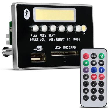 Placa Para Amplificador Módulo G377 800W RMS Bluetooth USB SD Rádio FM MP3 Preto Controle
