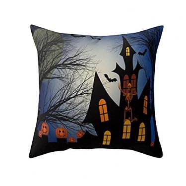 Imagem de SL&LFJ Capa de almofada com tema de Halloween Capa de almofada de algodão para decoração de escritório para sofá, cama, sofá, decoração de carro, festa, festival, sala de estar, presente para amigos da família (cor: O)