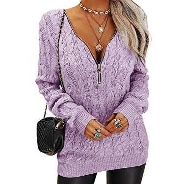 GAMISOTE Suéter feminino com gola V e comprimento longo, pulôver de tricô grosso, estilo túnica, roxo