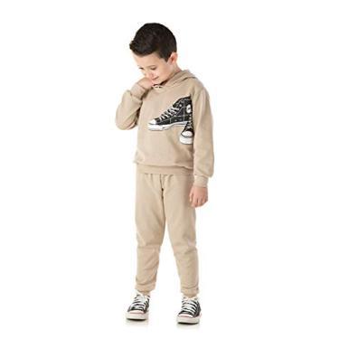 Conjunto Moletom Infantil Masculino com Capuz Roupa Infantil de Frio Cor:Marrom;Tamanho:6