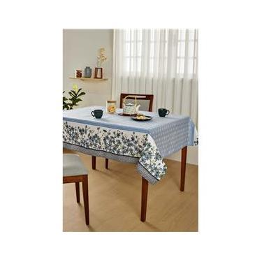 Imagem de Toalha para Mesa Retangular 6 Lugares Lepper Pop Oriente em Algodão e Poliéster 140 x 210 cm – Azul