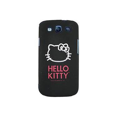Capa para Celular Galaxy S3 Hello Kitty Cristais Policarbonato Preta - Case Mix