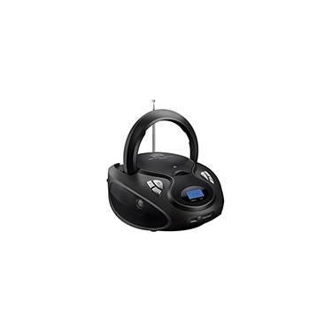 Som Portátil Boombox Multilaser SP178 5 em 1 Bivolt Com Entradas USB Leitor de CD e Rádio FM Preto