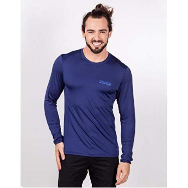 Imagem de Camisa UV Masculina com Proteção Solar Manga Longa Fresh (G, Azul - Marinho)