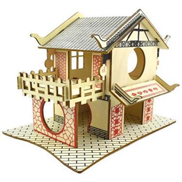 Imagem de luning Casa de hamster de madeira – Escale e Esconde para animais de estimação, tédio, disjuntor, gaiola, esconderijo e Gnawer para pequenos animais, hamsters, gerbils físicos