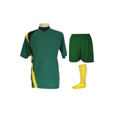 Uniforme Esportivo Completo modelo PSG 14+1 (14 camisas Verde/Preto/Amarelo + 14 calções Madrid Verde + 14 pares de meiões Amarelos + 1 conjunto de goleiro) +