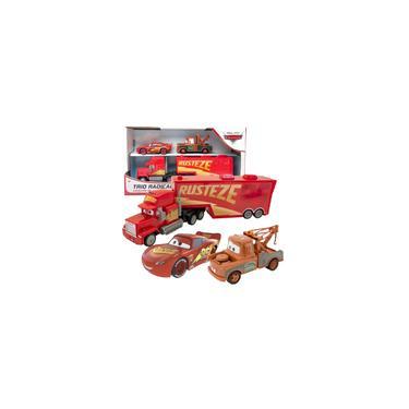 Imagem de Kit Brinquedo Carros Relampago Mcqueen Tom Mater Mack Caminhão Carreta Trio Radical Pixar Disney Toyng