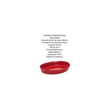 Imagem de Travessa Refratária Oval Vermelha 1l Cerâmica 1° Linha 025vm