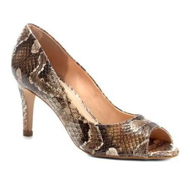 a033d8f7fa Peep Toe Couro Shoestock Salto Fino Cobra - Feminino Cobra