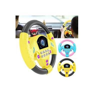 Crianças brinquedos de volante de carro de banco traseiro jogo de condução chifre soa luz eletrônica