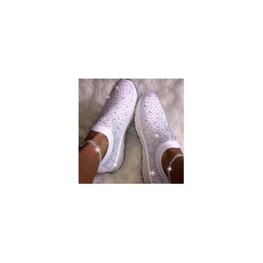 Sapatos femininos grandes de tecido elástico com botas de broca Sapatos casuais de lazer