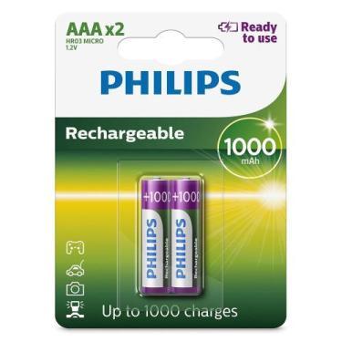 2 Pilhas Recarregáveis Philips Aaa 1000 mAh Originais Palito Prontas p