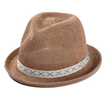 Chapéu de praia feminino com proteção solar, aba curta, chapéu de palha estruturado com faixa (Cáqui)