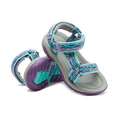 Weestep Sandália de tiras ajustáveis para meninos e meninas, Azul-petróleo, 12 Little Kid