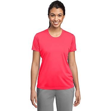 Camiseta feminina esportiva Dri-Wick Performance Absorção de umidade atlética, Hot Coral, 3X-Large
