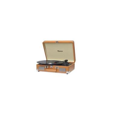 Vitrola Retrô Raveo Sonetto Chrome Caramelo, Toca Discos, Entrada USB, Bluetooth, Reproduz e Grava Vinil