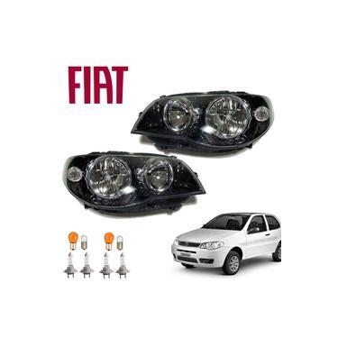 Farol Fiat Palio Fire 2008 Máscara Negra Kit com 2