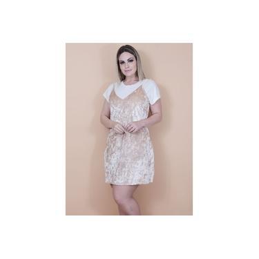 Vestido Slip Dress em Veludo Molhado com Camiseta em Viscose | Cor: Creme | Tamanho: 46