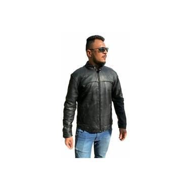 Jaqueta Masculina Gola alta Esportiva de Couro Legitimo - Kesck Couro
