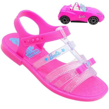 Sandália Infantil Barbie Pink Feminina Com Carro