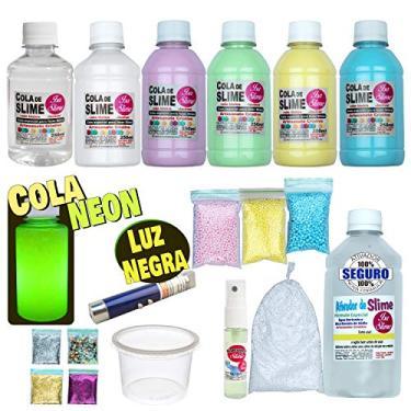 Imagem de Kit Completo para Fazer Slime Colas Coloridas + Cola Neon e Luz Negra