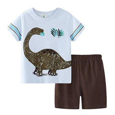 Cotrio Conjunto de roupas de bebê meninos de verão para crianças dinossauros Conjunto de camisetas + shorts conjunto de roupas tamanho 5-6 anos