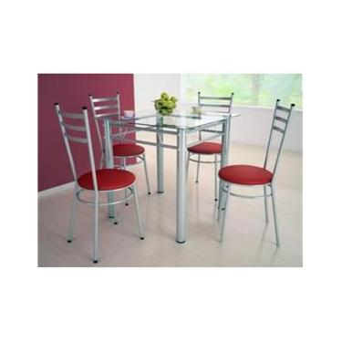 Jogo de Mesa com 4 Cadeiras Tulipa Tampo de Vidro 80 x 80 cm - Marcheli - Tubo Prata / Assento Corino Vermelho