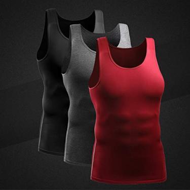 Imagem de Camiseta masculina de compressão com 3 pacotes de secagem rápida colete de secagem rápida colete atlético treino muscular