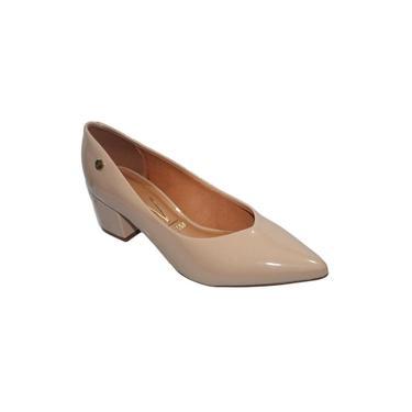 Sapato Feminino Salto Baixo Grosso Bico Fino Vizzano - 1220224 Bege Verniz