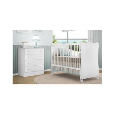 Quarto Infantil Berço E Cômoda Bebê Certificado Inmetro - Branco