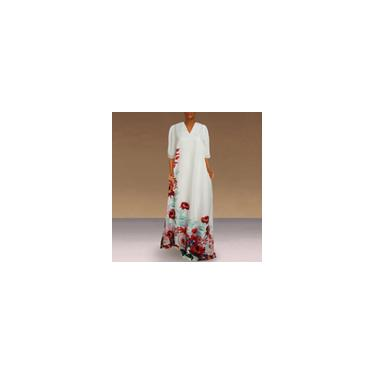 Vestido longo feminino com estampa floral 3/4 manga decote em V de seda glacial casual solto vestido maxi plus size Branco M
