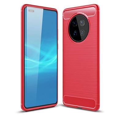 SHUNDA Capa para celular Huawei Mate 40 Pro, capa protetora ultrafina de TPU macia antiderrapante à prova de choque para Huawei Mate 40 Pro 6,8 polegadas - vermelha