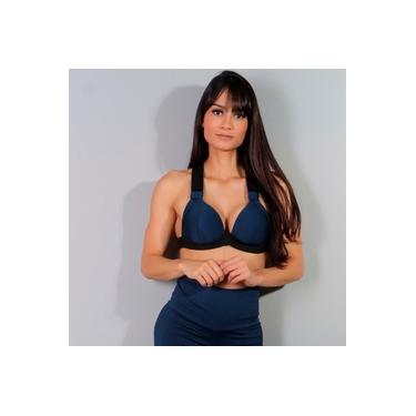 Top Fitness Azul Marinho com Bojo