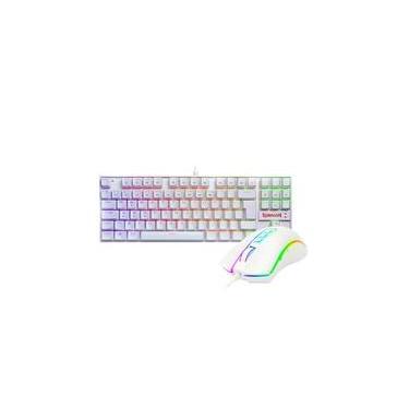 Imagem de Kit Gamer Redragon - Teclado Mecânico Kumara, RGB, Switch Outemu Blue, PT, Branco + Mouse Cobra M711, Chroma, 10000DPI, Branco - S118W
