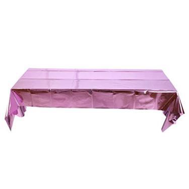Imagem de TOYANDONA Toalha de mesa brilhante de plástico descartável retangular metálico Tinsel toalhas de mesa para feriados, casamentos, festas de aniversário, decoração rosa