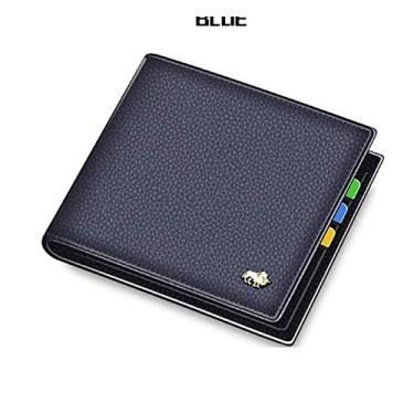 Carteira Bison Denim De Luxo - Couro Legítimo N4470 (Azul)